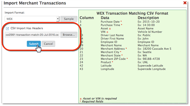 Transaction Matching – Zonar Systems Support